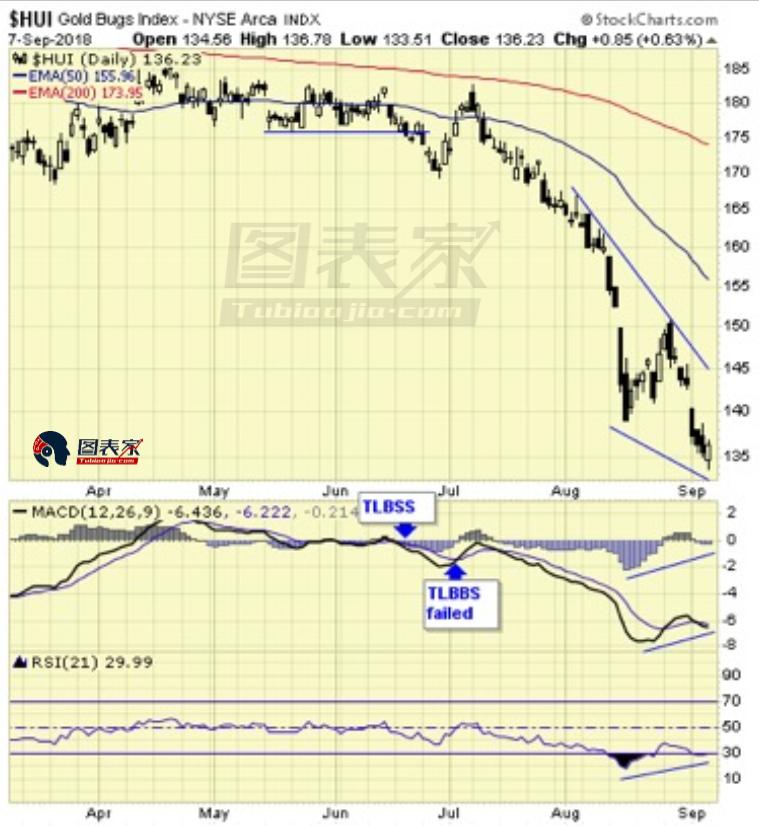 放大来看,尽管近期价格场下新低,但RSI指标却在上涨,目前已经涨至30上方,回归正常水平。未来金甲虫指数可能继续沿着蓝色三角形下跌。
